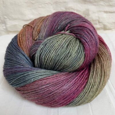 Hand dyed merino silk yak yarn