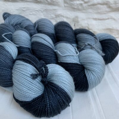 Hand dyed merino silk yarn