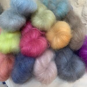 Hand dyed kid mohair and silk lace weight yarn
